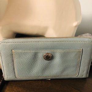 COACH light blue zipper wallet